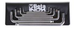 Beta 96BPINOX/B9 6 darabos hatlapfejű hajlított belső kulcs rozsdamentes acélból, tasakban