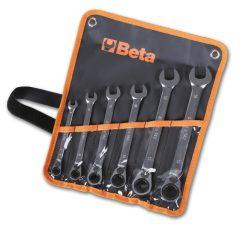 Beta 142/B 6 részes csillag-villáskulcs irányváltós racsnival szerszám készlet műanyag dobozban