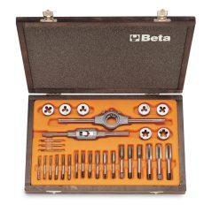 Beta 446/C30 Krómacél menetfúró és menetmetsző készlet, metrikus normál menet és tartozékok