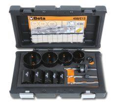 Beta 450/C13 HSS/Bimetall-koronafúrókészlet gáz és vízvezetékszerelőknek ütésálló műanyag dobozban