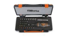 Beta 583/C31 1 nyomatékcsavarhúzó, 8 hatlapú dugókulcs, 20 csavarhúzóbetét és 2 tartozék fémdobozban hőformált tálcában
