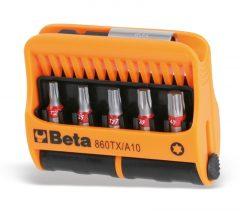 Beta 860TX/A10 10 csavarhúzóbetét és mágneses gyorslazítású betéttartó, műanyag dobozban