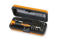 Beta 1256/C36-2 Bimateriál-műszerész csavarhúzó 36 cserélhető 4 mm-es bit-tel és mágneses hosszabbítóval