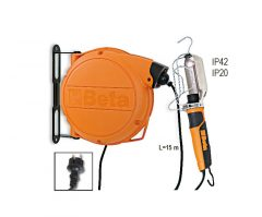 Beta 1843BM Automata kábeldob szerelőlámpával 230 Vac E27 acélfoglalat