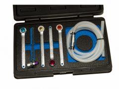 féklégtelenítő kulcs készlet visszacsapó szeleppel és tömlővel. 6 darabos