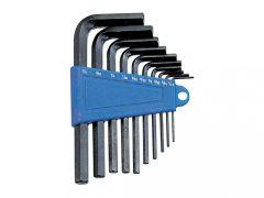 imbuszkulcs készlet, L-alakú, metrikus, 10 darabos