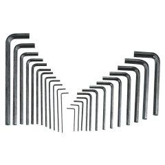 imbuszkulcs készlet, L-alakú, metrikus és colos, 25 darabos