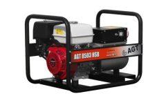AGT 8503 HSB háromfázisú  benzines áramfejlesztő HONDA GX390, 13,0 LE olajszenzorral, 3 fázis (8,0 kVA) 1 fázis (5,0 kVA), hővédelem, dugalj: 1 db 16 A és 1 db 3 fázisú 16 A, üzemóra számláló