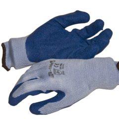 Latex tenyérmártott Poli-pamut kötött kesztyű (EN 2242), kék, XL-es
