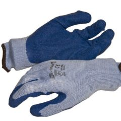 Latex tenyérmártott Poli-pamut kötött kesztyű (EN 2242), kék, XXL-es
