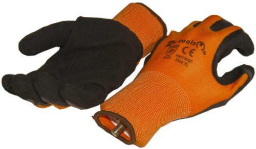 Hab-latex tenyérmártott nylon szőtt kesztyű (EN 2131), narancssárga-fekete, XXL-es