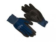 PU tenyérmártott nylon kesztyű (EN 4131), kék, L-es