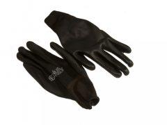 PU tenyérmártott, poliészter kesztyű (EN 3131), fekete, XXL-es