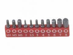 """bit készlet, imbusz és XZN (spline), metrikus 1/4"""", 11 darabos"""