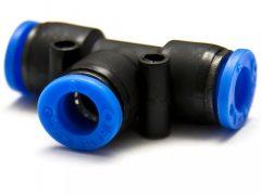 műanyag-levegőcső dugaszolható összekötő, T-alakú, 3x 14mm
