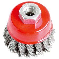drótcsiszoló fazékkefe (sarokcsiszolóra) ; sodrott erős 65mm, max. 12500 ford/perc, 0,5 mm szálvastagság
