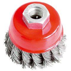 drótcsiszoló fazékkefe (sarokcsiszolóra) ; sodrott erős 80mm, max. 12500 ford/perc