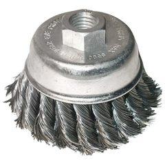 drótcsiszoló fazékkefe  sodort szálú ; sarokcsiszolóhoz, M14×2 két soros, 80mm, max. 12500 ford/perc