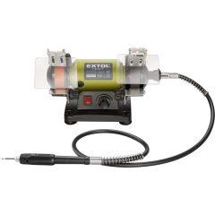 mini kettős köszörűgép felxibilis szárral, 120W; száraz, 75×10×20mm, 0-9900 ford/perc, 2,3kg