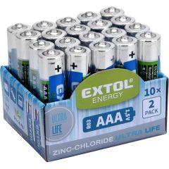 elem klt. 20 db, cink-klorid, féltartós, 1,5V; méret: AAA (LR03), 10×2db-os kínálóban