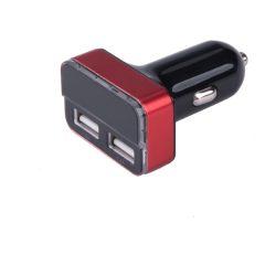 autós töltő, szivargyujtó / dupla USB, 1,0A+3,4A/ 37W, kábel nélkül