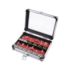 felsőmaró klt.  12db, kissebb szett (alu kofferben) ; 8mm-es befogással, keményfém lapkás