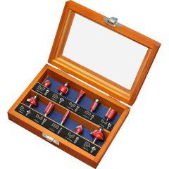 felsőmaró klt.  10 db-os (fadobozban) ; 6mm-es befogással, keményfém lapkás, csapágyas, 8893310 élmarógéphez