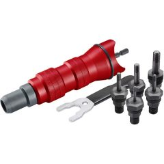 """adapter  klt. fúrógéphez, POP-NUT szegecsanyákhoz, 6 db, M3-M4-M5-M6-M8-M10; 1/4"""" hatszög befogás,  FORTUM"""