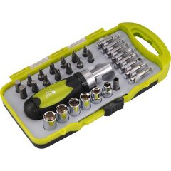 racsnis BIT dugókulcs, csavarhúzó klt.; 30db-os, CrV., irányváltós, mágneses, műanyag dobozban