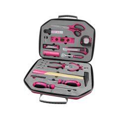 """szerszámkészlet, 47db, 1/4""""; Extol Lady, rózsaszín, 8 dugófej (5-14mm), fogó, csavarhúzók, kalapács, BIT-ek, vízmérték"""