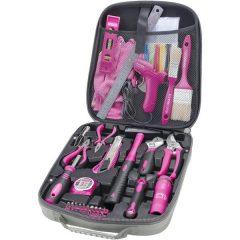 szerszámkészlet, 68db; Extol Lady, rózsaszín, fogó, csavarhúzók, kalapács, BIT-ek, melegragasztó pisztoly, LED-lámpa