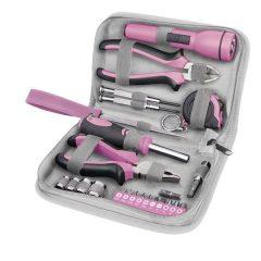 """szerszámkészlet, 23db, 1/4""""; Extol Lady, rózsaszín, 4 dugófej (6-12mm), fogók, csavarhúzó markolat, mérőszalag, BIT-ek"""