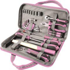 """szerszámkészlet, 39db, 1/4""""; Extol Lady, rózsaszín, 8 dugófej (5-14mm), fogó, csavarhúzók, kalapács, BIT-ek"""