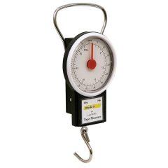 poggyász mérleg (körszámlapos, kampós, max 32 kg) és 1m-es mérőszalag (mm- és coll beosztás)