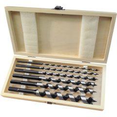 fafúró klt. 6 db, 6-8-10-12-16-20×260mm, csavaros heggyel, hatszög befogás; fa dobozban