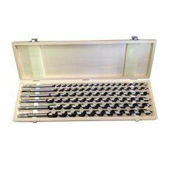 fafúró klt. 6 db, 10-12-14-16-18-20×460mm, csavaros heggyel, hatszög befogás; fa dobozban