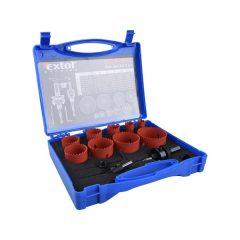 körkivágó klt.,HSS Bi-metál,13db-os,(19-22-29-35-38-44-51-57-64mm) műanyag,fa,gipszk.,ALU,réz, vas,acél,rozsdamentesa.