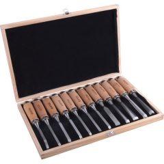 fafaragó készlet ; 12db, fanyelű, dobozban, Cr.V., HRC 58-60