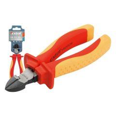 oldalcsípő fogó, 160mm, szigetelt, 1000V, VDE, DIN ISO 5749, CV, duál piros/sárga nyél, akasztós szerszámtartó