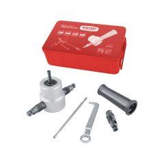 fúrógéppel hajtható mechanikus lemezvágó/lyukasztó fej, max. 2 mm lemezekhez