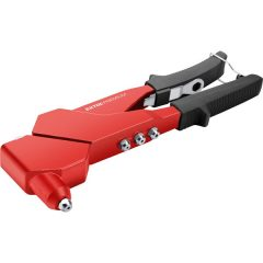 popszegecshúzó fogó, forgatható fejű, egykezes, ALU és réz, szegecsekhez; 2,4-3,2-4,0-4,8 mm, 280mm