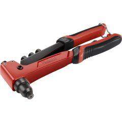 popszegecshúzó fogó, egykezes, ALU, réz, acél, INOX szegecsekhez; 2,4-3,2-4,0-4,8 mm, 250mm, CrVMo pofák