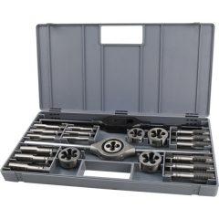 menetfúró- és menetmetsző klt., 23 db; M12-M14-M16-M18-M20+hajtóvas+befogó, ötvözött szerszámacél, műanyag koffer