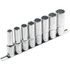 """hosszított Multi Lock dugófej klt. ; 1/2"""", 8db 10, 12, 13, 14, 16, 17, 19, 22mm, tartó sínen"""