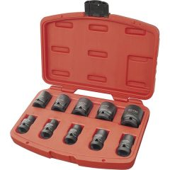 """gépi (impakt) dugófej klt. 1/2"""", 10db, 9-27mm × 37 mm ; feketített, műanyag tartóban"""