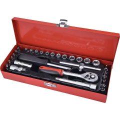 """dugókulcs klt., CV., racsnis 45fog ; 1/4"""" 30db, normál (4-14mm) dugófejek, bitdugófej (-, +, imbusz, torx), fém doboz"""