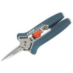 szüretelő (metsző) olló; mini, 153mm, max. 6mm átvágás, gumírozott nyéllel