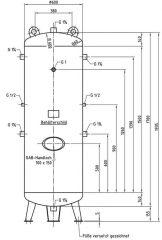 500 literes horganyzott tartály DB VZ 500/11 V álló